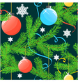 Seamless christmas background with tree and balls vector