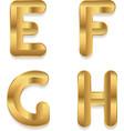Golden alphabet set of metallic 3d letters vector