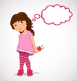 Little girl dreaming about holiday gifts vector