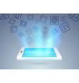 Social media through mobile phone vector