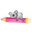 Bear sleeping on pencil vector