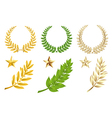 Golden and green elements set vector