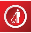 Recycling icon on red vector