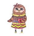 Cute owl with heart watercolor character vector