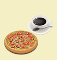 Delicious deluxe pizza on dish with hot coffee vector