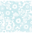 Blue fabric texture garden silhouettes seamless vector