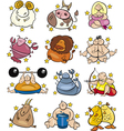 Overweight cartoon zodiac signs vector
