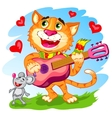 The funny singing cat with guitar vector