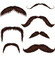 Brown different style isolated mustaches set vector