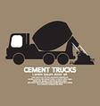 Single black cement mixer trucks vector
