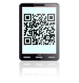 Tablet computer with qr code vector