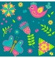 Background with birds butterflies and flowers vector