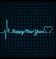 Heartbeat make happy new year text vector