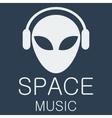 Alien in headphones on blue background vector