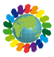 Eco logo - earth and color hands vector