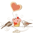 Birthday card with cute birds cupcake and heart vector