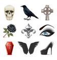 Gothic attributes icons vector