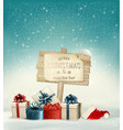Winter christmas with a sign gift boxes and a vector