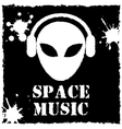 Alien space music logo on black background vector