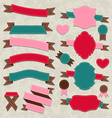 Set ribbons vintage labels geometric emblems vector