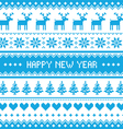Happy new year - nordic winter blue pattern vector