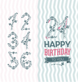 Flower numbers birthday set vector
