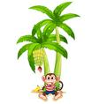 A monkey under the banana plant vector