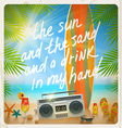 Vintage surfboard and summer type design vector