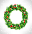Christmas wreath on grayscale vector