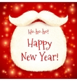 Santas beard with happy new year sign on red vector