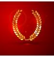 A golden metallic foil laurel wreath on t vector