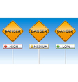 Danger - high medium low traffic board vector