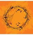 Halloween wreath orange background vector