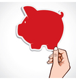 Red piggy bank icon in hand vector