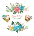 Floral design elements and cute owls vector