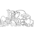 African safari animals cartoon for coloring vector