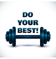 Blue dumbbell on white background with sign do vector