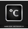 Temperature celsius icon silver metal vector