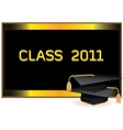 Graduation invitation card with mortars vector