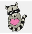 Raccoon carrying a heart vector