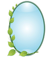 Twig with leaves in oval frame vector