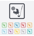 Golf fireball with club sign icon sport symbol vector