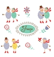 Cute colorful funny sheeps collection vector