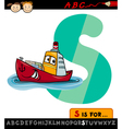 Letter s with ship cartoon vector