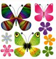 Set abstract butterflies and flowers vector