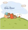 Baby shower card with teddy bear vector