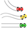 Race cars with various tyre treads vector