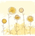Yellow sunflower on watercolor background vector