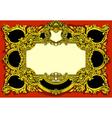 Vintage gold baroque frame on red background vector