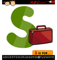 Letter s with suitcase cartoon vector